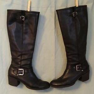 Aldo Black Leather Riding Boots